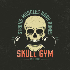 Vintage color emblem with a skull and dumbbell. Grunge texture on separate layers and can be easily disabled.