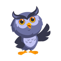 Nice owl, he is greeting, vector illustration
