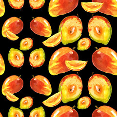 Watercolor seamless pattern, background with a pattern of tropical mango fruit.  On a black background