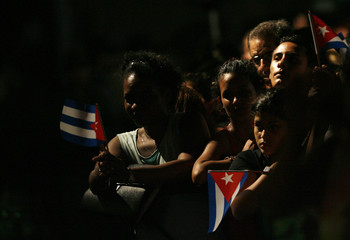 People attend a concert of Cuban musician Pablo Milanes in Havana