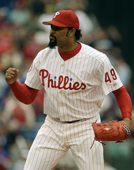 PHILLIES CLOSER MESA PUMPS HIS FIST AFTER SHUTTING DOWN THE EXPOS.