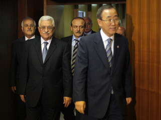 Palestinian National Authority President Abbas meets with United Nations Secretary-General Ban at the 62nd United Nations General Assembly at U.N. headquarters in New York