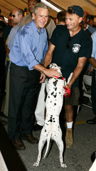 US President Bush meets fireman mascot while in New Orleans.