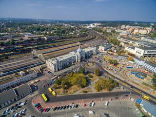 Lviv Railway Station with Roof. Public Transport Bus, Tram, Train.