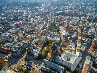 Lviv Downtown with Lviv Latin Cathedral and City Hall Tower with Church of the Holy Communion, Arsenal, Dormition Church, Korniakt Tower