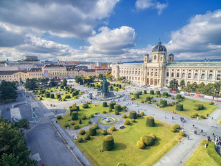 Museum of Natural History and Maria Theresien Platz. Large public square in Vienna, Austria