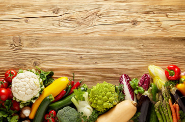 Wall Mural - Row of fresh vegetables background