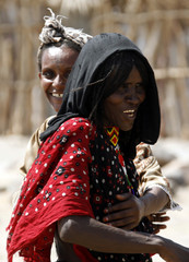 Tigray and Afar women greet each other in Hamad-Ile, a remote corner of Ethiopia