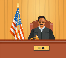 Judge black man in courtroom at tribunal with gavel and american flag. Judicial cartoon background. Civil and criminal cases public trial. Vector flat illustration.