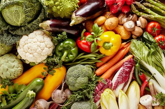 Full frame of fresh vegetables