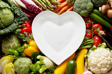 Wall Mural - Heart-shaped plate over vegetables