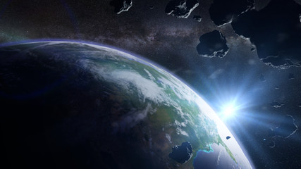 a swarm of asteroids moving towards planet Earth