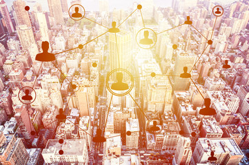 Social networking technologies above a city
