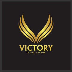 Victory logo design template. vector illustration