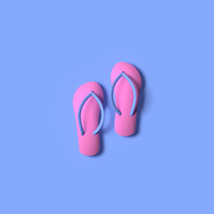 3D RENDERING OF PAIR OF FLIP FLOPS ON PLAIN BACKGROUND