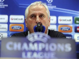 FC Zurich coach Bernard Challandes speaks during news conference at the San Siro stadium in Milan