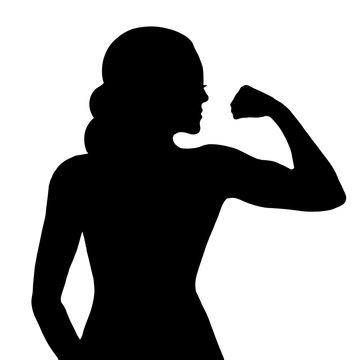 Fitness girl white Silhouette Vector