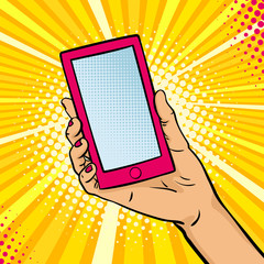 Pop art background with female hand holding a smartphone with empty screen for your offer . Vector colorful hand drawn illustration in retro comic style.