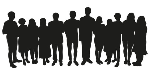 Vector Silhouette of Crowd of People