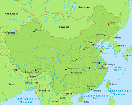 China Karte - Grün