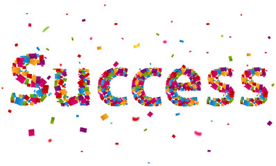 Success sign with colorful confetti