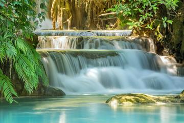 Fototapeten Wasserfalle Kuang Si Waterfalls, Luang Phrabang, Laos.