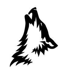 Decorative black vector wolf's head illustration or tattoo design