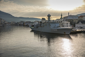 Navy ships in the port of Bergen