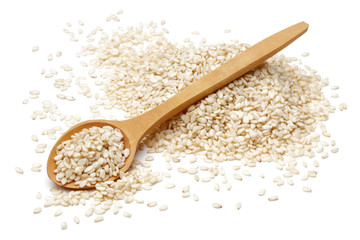 Sesame with wooden spoon