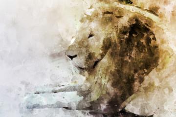 Watercolor portrait image of male lion