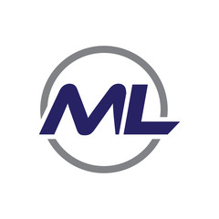 ml initial letter logo with circle blue color