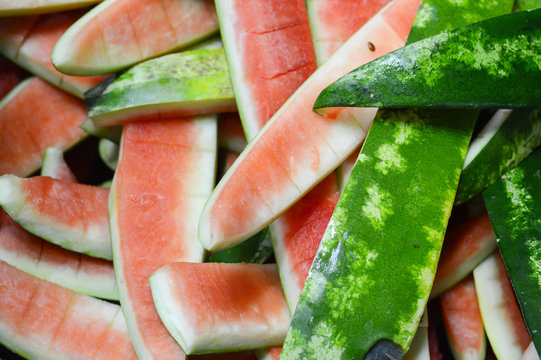 Watermelons rind flesh was eaten out.