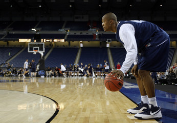 Villanova Wildcats Dante Cunningham during practice for the NCAA men's Final Four championship in Detroit, Michigan.