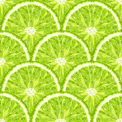 vector seamless pattern of lime slice. Realistic citrus background