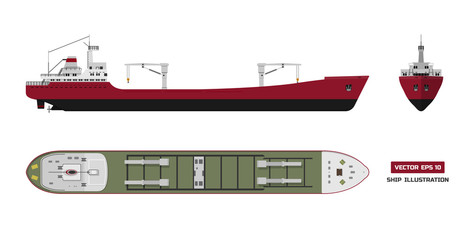 Cargo ship on a white background. Top, side and front view. Container transport in flat style.
