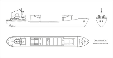 Outline drawing of cargo ship on a white background. Top, side and front view. Container transport