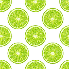 seamless pattern of lime slice. Vector citrus background