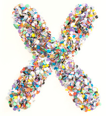 Confetti alphabet - letter X
