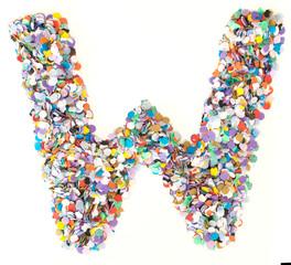 Confetti alphabet - letter W