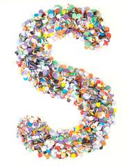Confetti alphabet - letter S