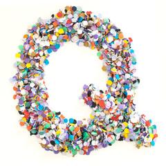 Confetti alphabet - letter Q