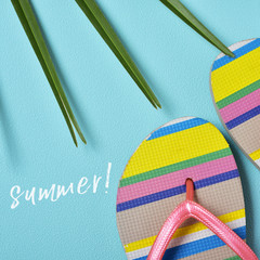 colorful flip-flops and word summer