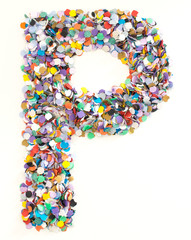 Confetti alphabet - letter P