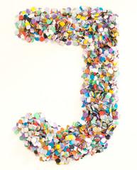 Confetti alphabet - letter J