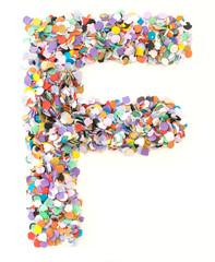 Confetti alphabet - letter F