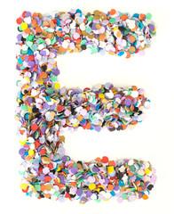 Confetti alphabet - letter E