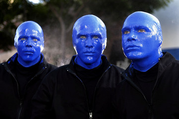 MEMBERS OF THE BLUE MAN GROUP ARRIVE FOR PREMIERE OF TERMINATOR 3.