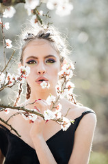 cherry tree spring blossom and beautiful girl in flowers