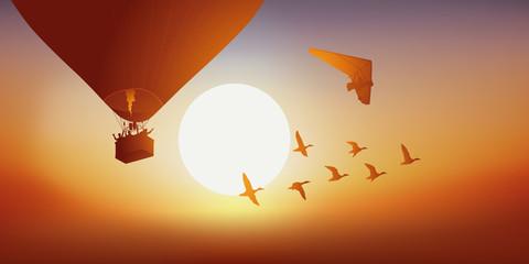 Montgolfière - ULM - Coucher de soleil - vol de canard,