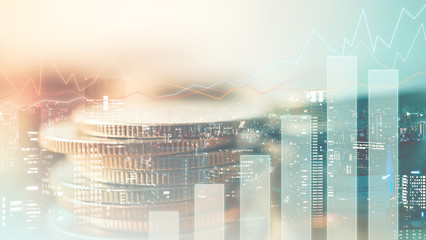 Double exposure of city , graph and rows of coins for finance and banking concept